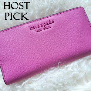 NWT Kate Spade peony large slim bifold wallet